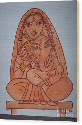 Little Ganesh And Parvati Wood Print by Anu Darbha