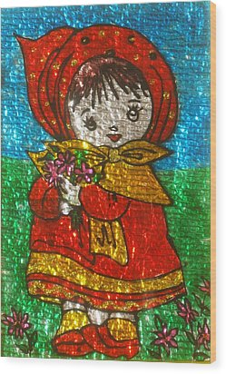 Little  Girl - Glass Painting Wood Print by Rejeena Niaz