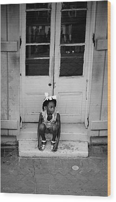 Little Girl Waiting Wood Print