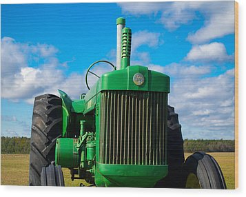 Little Green Tractor Wood Print