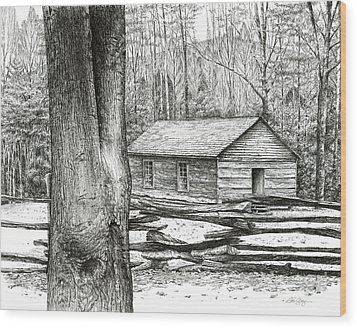 Little Greenbrier School House Wood Print by Bob  George