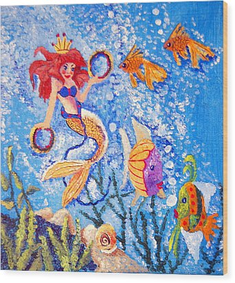 Little Mermaid In The Sea Wood Print by Janna Columbus