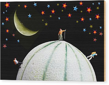 Little People Hiking On Fruits Under Starry Night Wood Print by Paul Ge