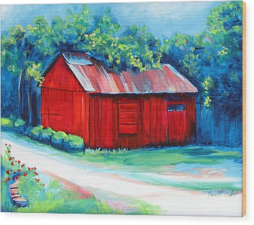 Little Red Barn Wood Print by Janet Oh