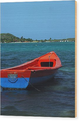 Little Red Boat Wood Print