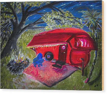 Little Red Camper Wood Print by Christy Usilton