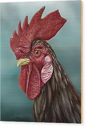 Little Red Rooster Wood Print by Jephyr Art