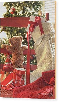 Little Teddy Bear Looking Through Chair Wood Print by Sandra Cunningham