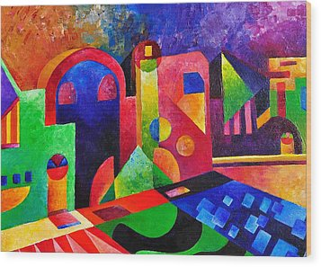 Little Village By Sandralira Wood Print