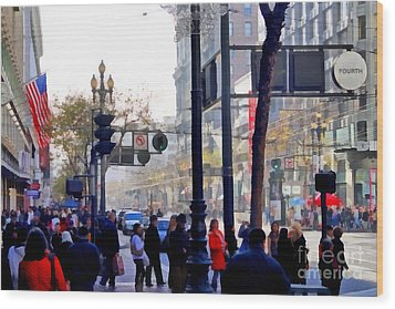 Lively Market Street In San Francisco . 7d4268 Wood Print by Wingsdomain Art and Photography