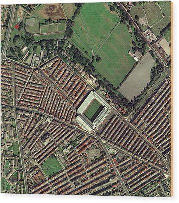 Liverpool's Anfield Stadium, Aerial View Wood Print by Getmapping Plc