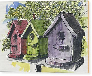 Wood Print featuring the painting Living High by Terry Banderas