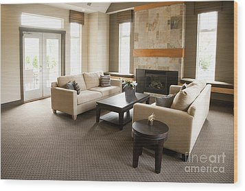 Living Room In An Upscale Home Wood Print by Shannon Fagan