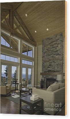 Living Room With Cathedral Ceiling Wood Print by Robert Pisano