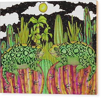 Lizards In Love Wood Print by Dede Shamel Davalos
