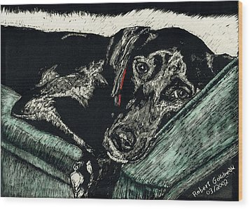 Lizzie The Dog Wood Print by Robert Goudreau