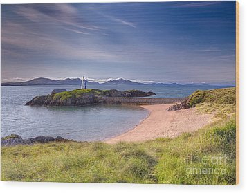 Llanddwyn Beacon Wood Print by Adrian Evans