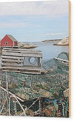 Lobster Pots Wood Print by Kristin Elmquist