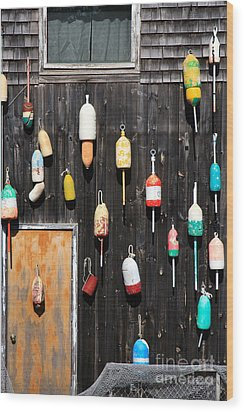 Wood Print featuring the photograph Lobster Shack With Brightly Colored Buoys by Karen Lee Ensley