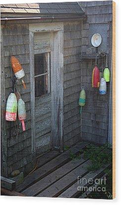 Lobsterman's House Wood Print by Brenda Giasson