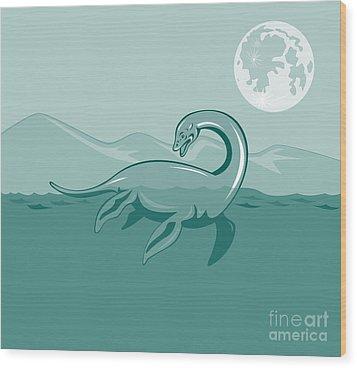 Loch Ness Monster Retro Wood Print by Aloysius Patrimonio
