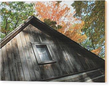 Log Cabin Wood Print by Sheryl Burns