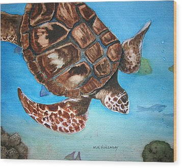 Wood Print featuring the painting Loggerhead Turtle by Mary Kay Holladay