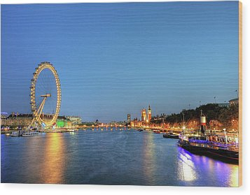 London At Night Wood Print by Thank you for choosing my work.