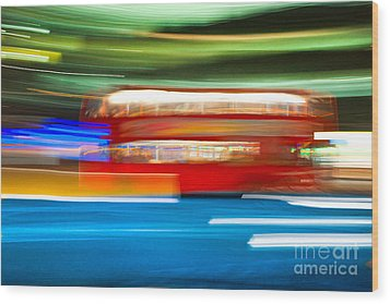 Wood Print featuring the photograph London Bus Motion by Luciano Mortula