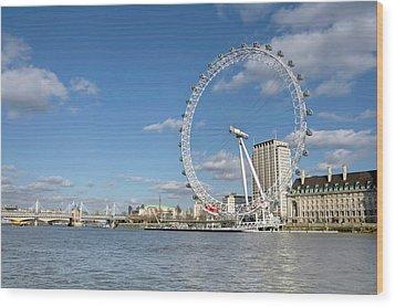 London Eye Wood Print by Paul Biris