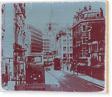 London Fleet Street Wood Print by Naxart Studio