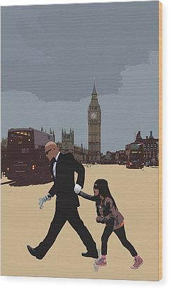 London Matrix Baddie Agent Smith Wood Print by Jasna Buncic