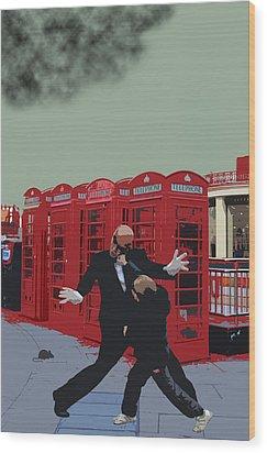 London Matrix Punching Mr Smith Wood Print by Jasna Buncic