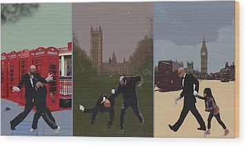 London Matrix Triptych Wood Print by Jasna Buncic