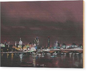 London Night Skyline 1 Wood Print by Paul Mitchell