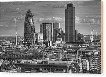 Wood Print featuring the photograph London Skyline Bw I by Jack Torcello