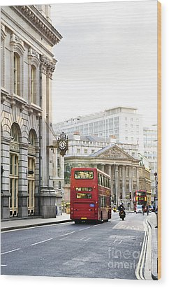 London Street With View Of Royal Exchange Building Wood Print by Elena Elisseeva