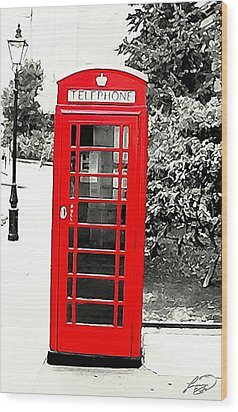 London's Red Booth Wood Print by ABA Studio Designs