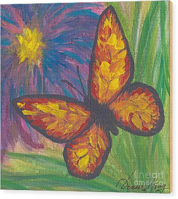Lone Butterfly Wood Print by Denise Hoag