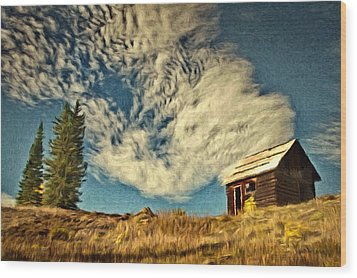 Lone Cabin Wood Print by Jeff Kolker