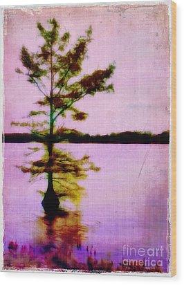 Lone Cypress Wood Print by Judi Bagwell