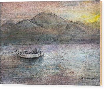Lone Fisherman Wood Print by Arline Wagner