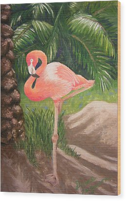 Lone Flamingo Wood Print by Diane Ferguson