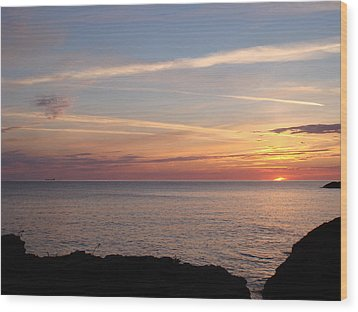 Wood Print featuring the photograph Lone Freighter On Up by Bonfire Photography