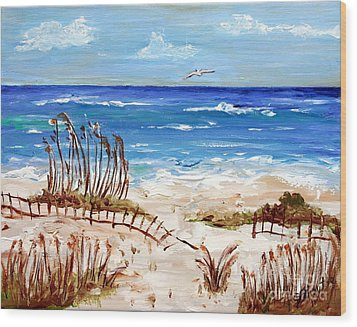 Wood Print featuring the painting Lone Gull by Jeanne Forsythe