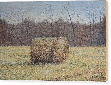 Wood Print featuring the painting Lone Haybale by Patsy Sharpe