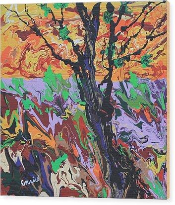 Lone Oak Wood Print