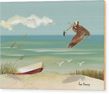 Lone Pelican Wood Print