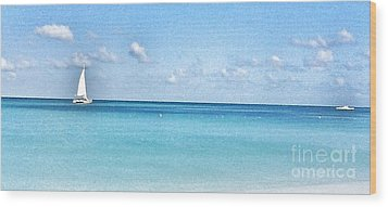 Lone Sailboat Wood Print