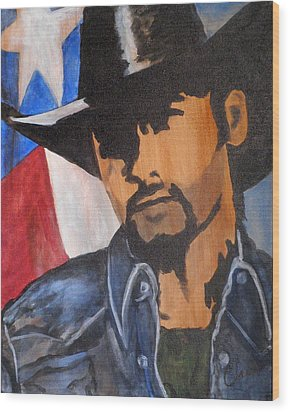 Lone Star Cowboy Wood Print